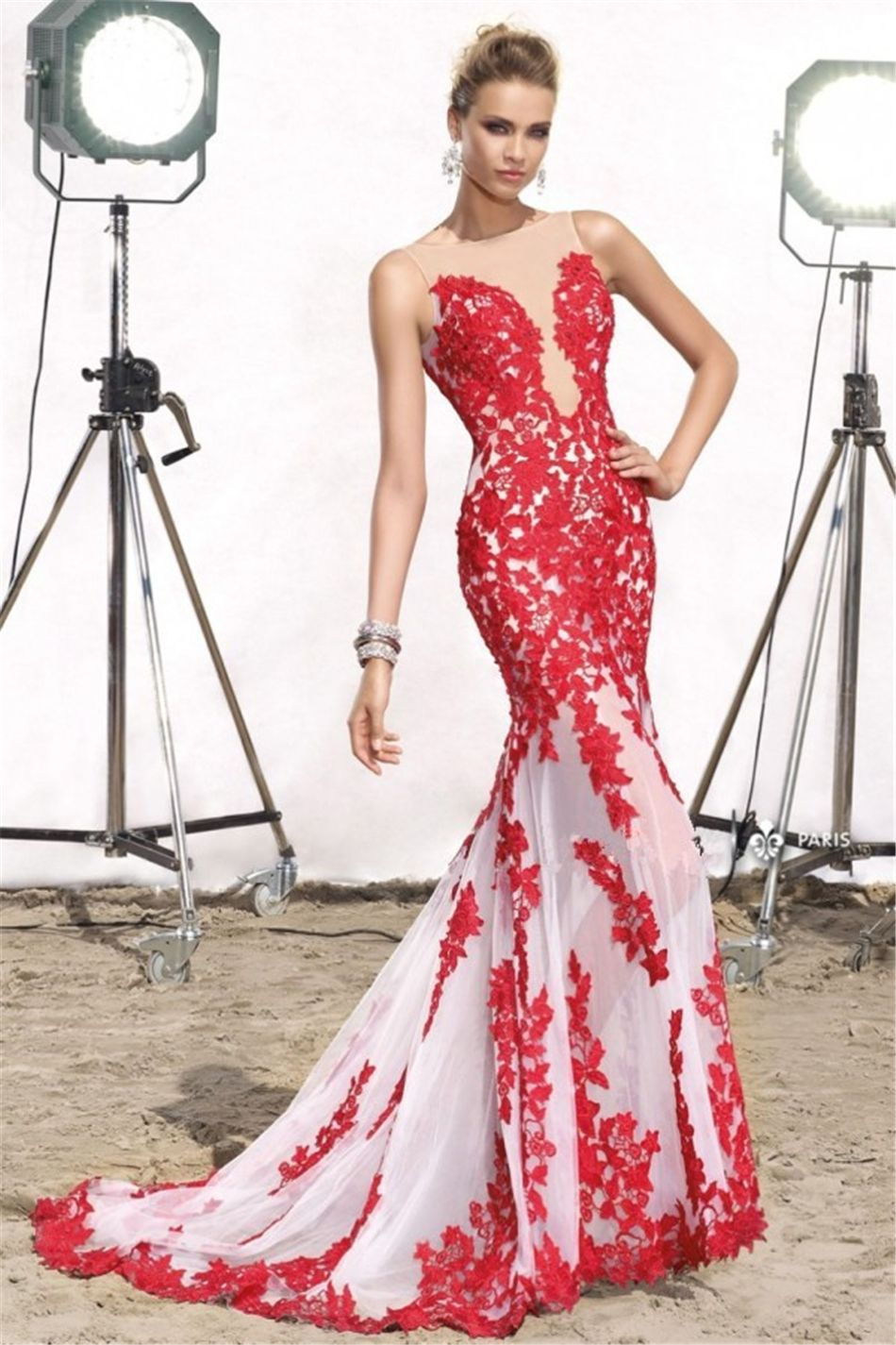 Click to buy ucuc sexy plungev long red mermaid evening dress with
