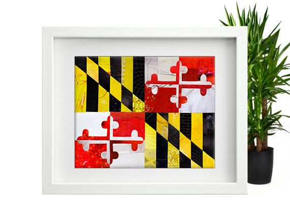 Maryland Gift Maryland Flag Maryland Wall Art Baltimore Mixed Media Collage Art Ocean City Md University Of Maryland Collage Art Mixed Media Maryland Gifts Celestial Art