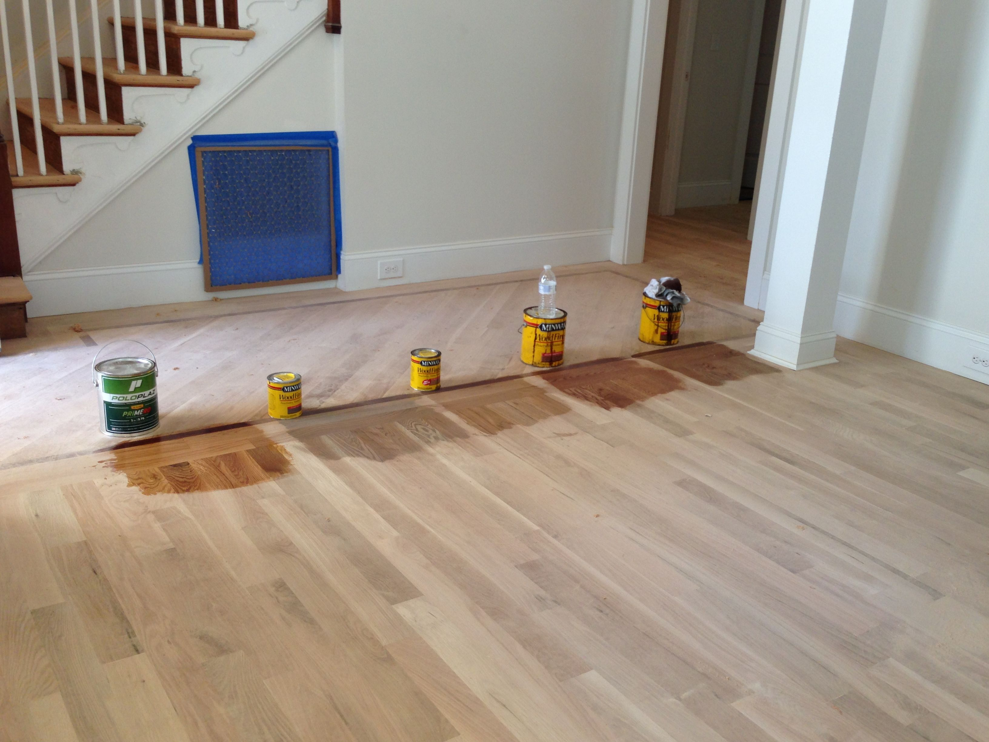 Minwax Floor Stains For White Oak Flooring Far Left Just Polyurethane Second From Left Gray Mi Oak Floor Stains White Oak Hardwood Floors White Oak Floors