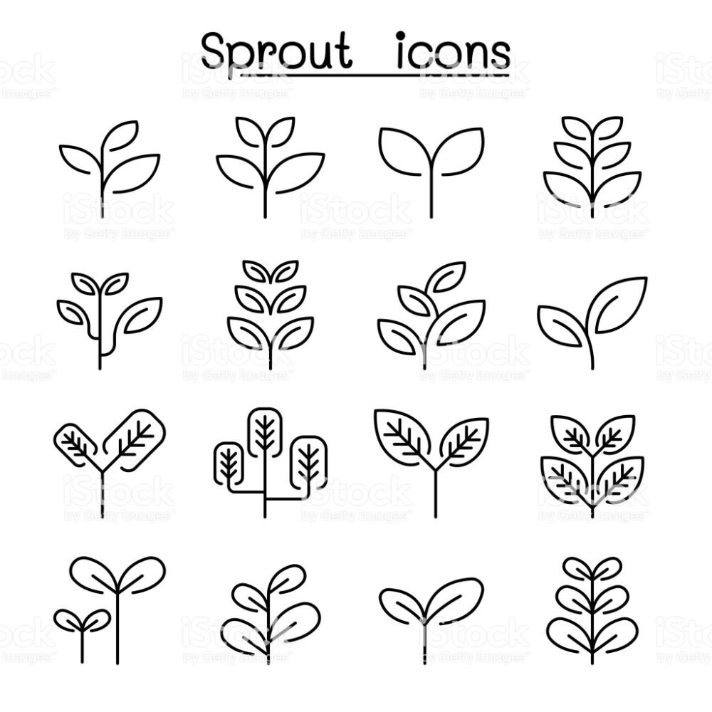 Sprout Treetop Tree Plant Icon Set In Thin Line Style Plant Icon Icon Set Free Vector Art