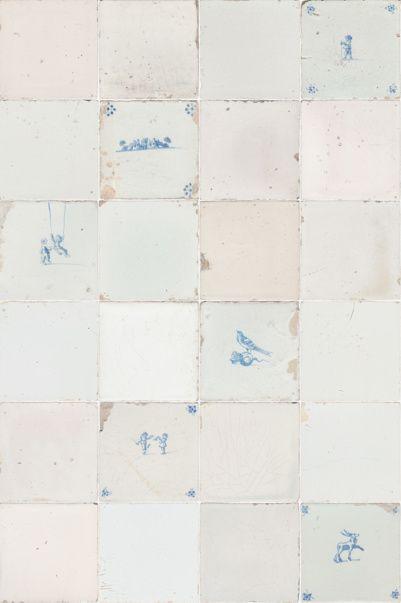 Fotobehang 6 Meter Breed.Tegeltjes Behang Studio Ditte Versie Antiek Blauw