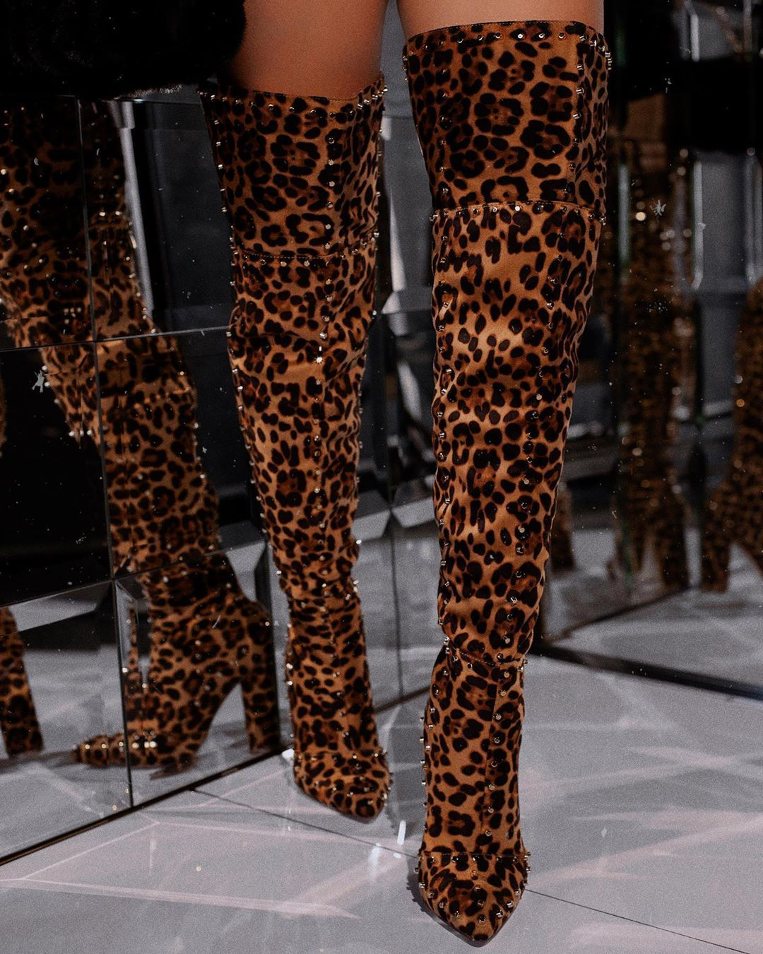 Lot New Animal Print Stilletos Spiked Knee High Boots Faux Leather Suede Shoes