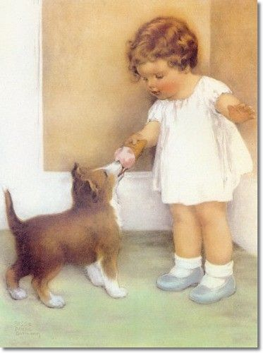 Bessie Pease Guttman  I love her paintings & stories. I actually have a book of her's that I got when Ashley was born. I had some of her paintings in Ashley's nursery and room growing up. Still have them for her to use maybe someday in her child's room.