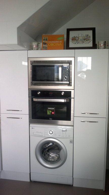 Columna horno micro y lavadora casa pinterest for Mueble para lavadora y lavavajillas