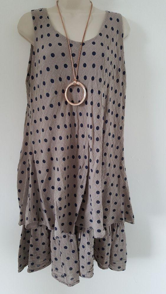 de3bb2ff245a9 New Italian Lagenlook Mocha Blue Spotty Cotton Summer Dress Size 12 14 16 18  in Clothes