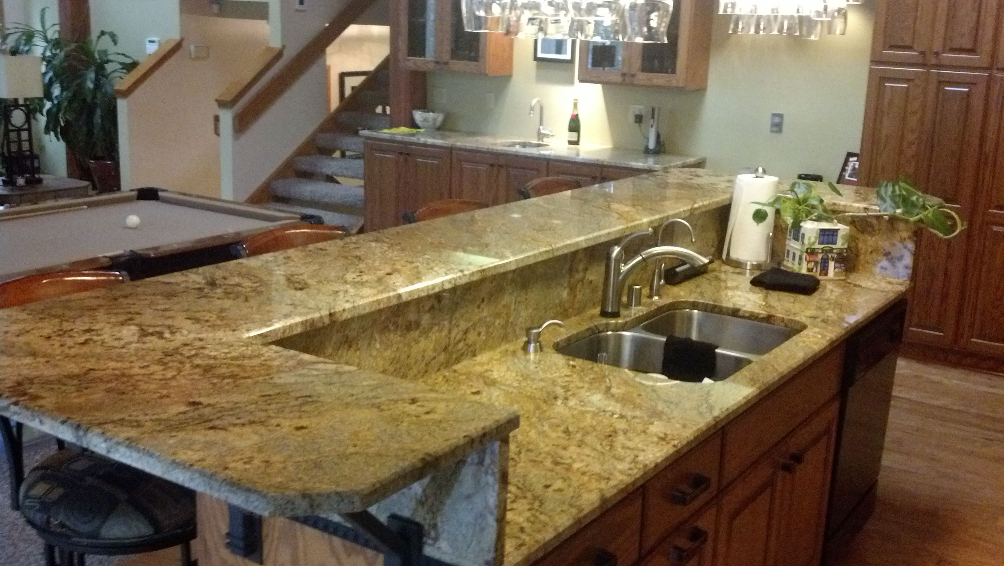 Golden Aurora Granite Kitchen With Raised Bar Remodel Design Done By Home Pride Remodeling Stone Done By Ho Kitchen Bar Trendy Kitchen Cheap Kitchen Makeover