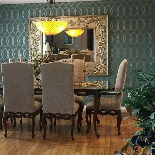 A DIY Stenciled Accent Wall In Dark Gray Dining Room Using The Entwined Allover Stencil