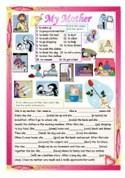 008 English worksheet My Mother´s Daily Routine Daily