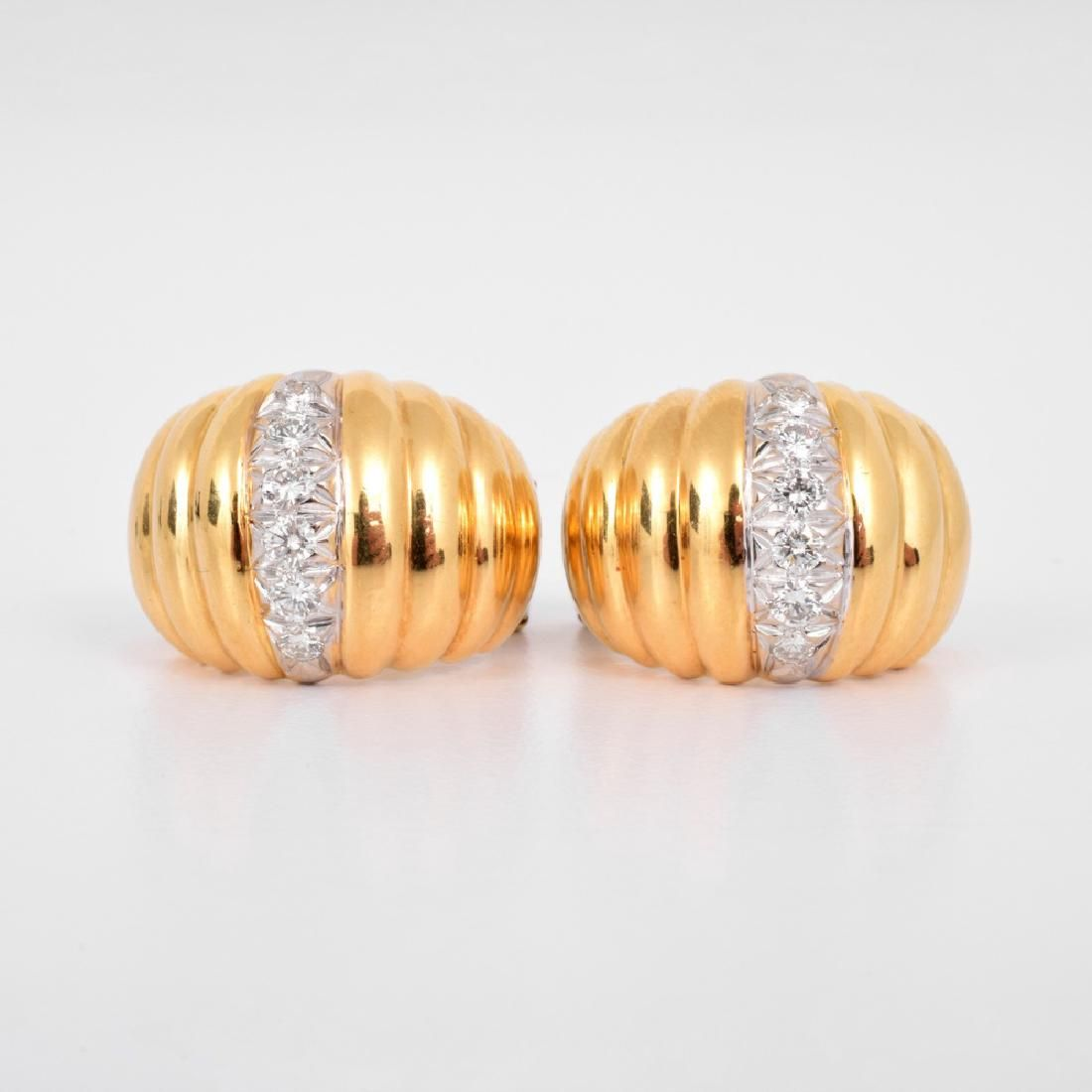 Lot: 18K Gold & Diamonds Vintage Estate Earrings, Lot Number: 0427, Starting Bid: $900, Auctioneer: Palm Beach Modern Auctions , Auction: Session 1: SELECT WORKS and Session 2, Date: May 6th, 2017 EDT