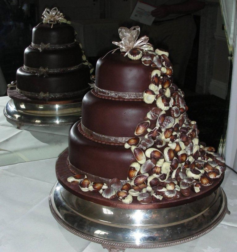 Chocolate Wedding Cake Covered With Fondant And Even More Shells