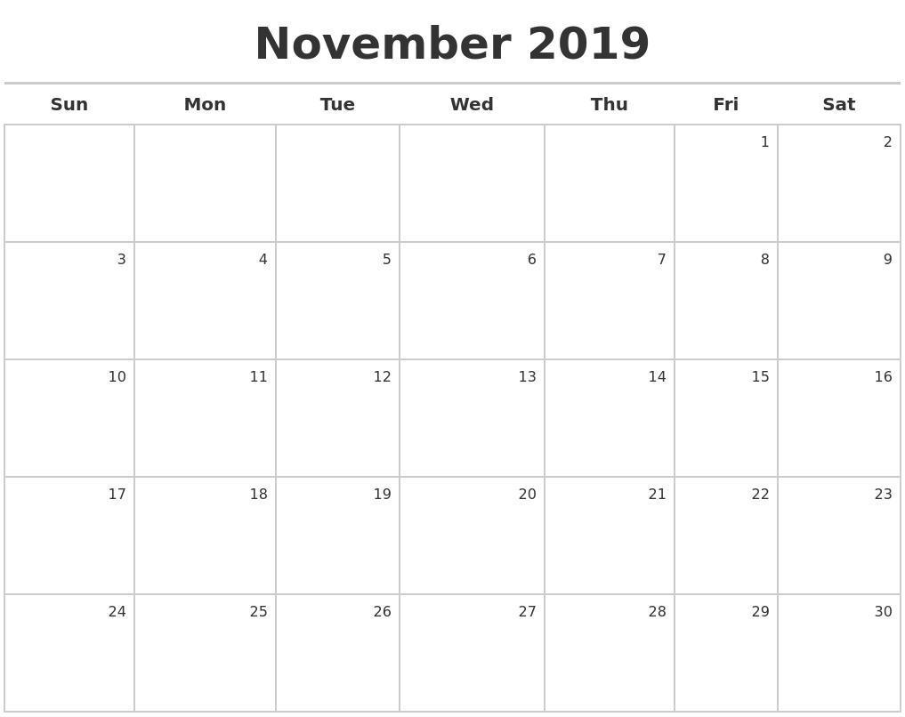 photo relating to Nov Calendar Printable Pdf identify November 2019 Calendar Cost-free Obtain Free of charge November 2019