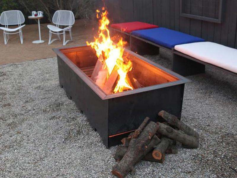 Rectangular Wood Burning Fire Pit Wood Burning Fire Pit Wood Burning Fires Fire Pit Landscaping