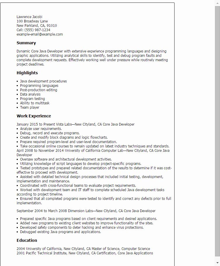 25 Core Java Developer Resume In 2020 With Images Job
