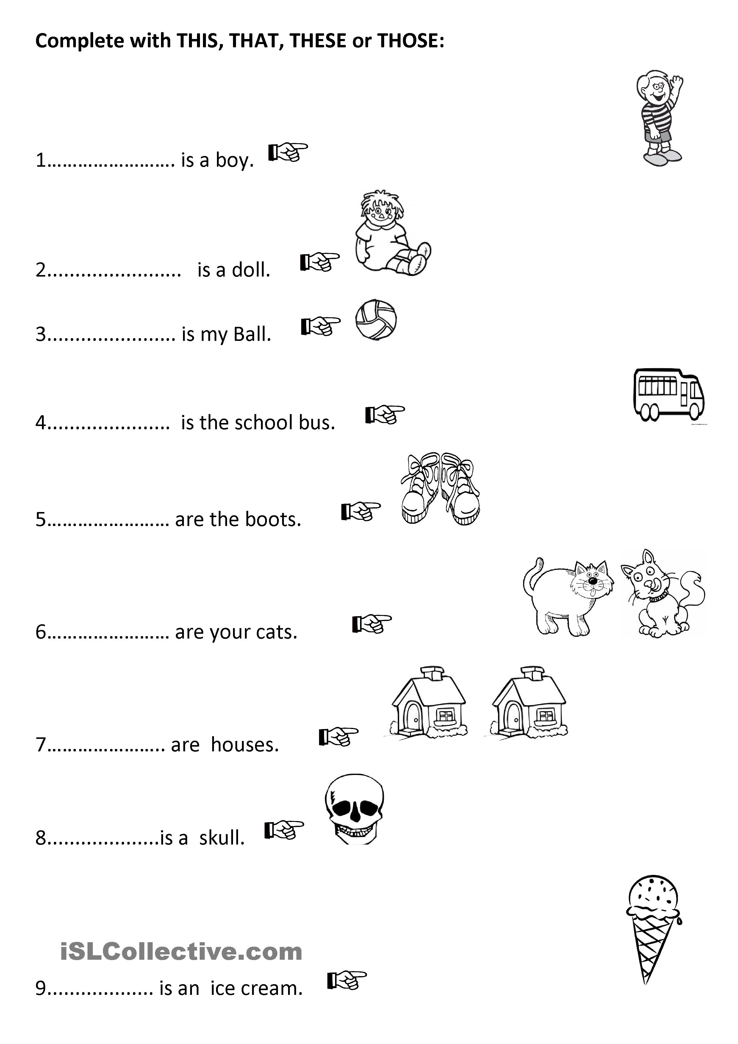 Oneclick print document Demonstrative pronouns, English
