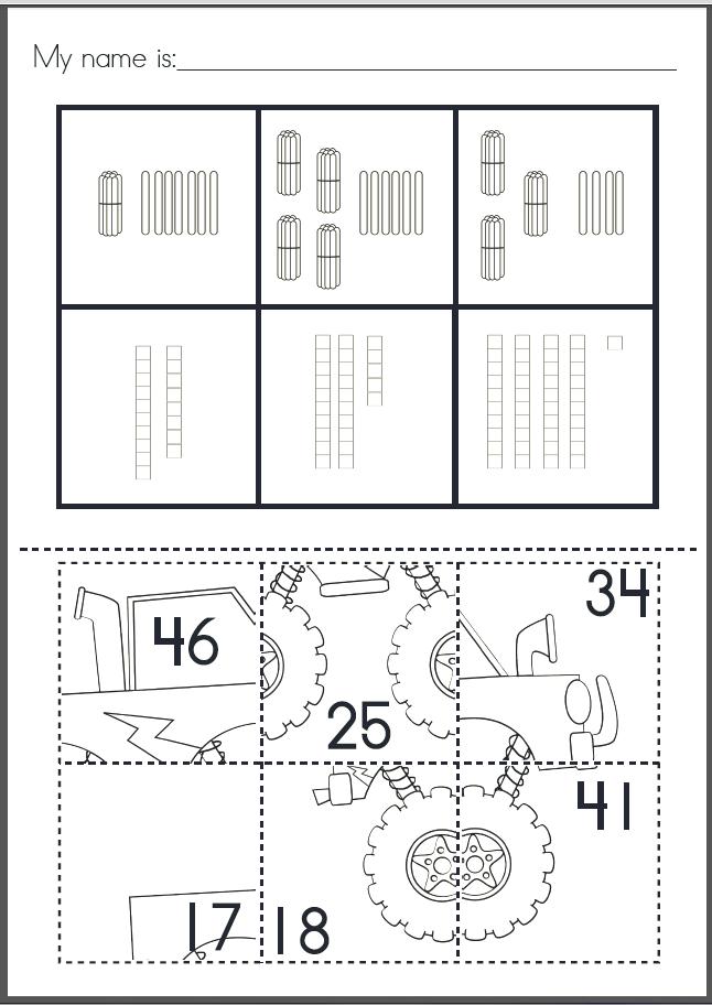 Place Value Puzzle Pastes Cut & Paste Worksheets