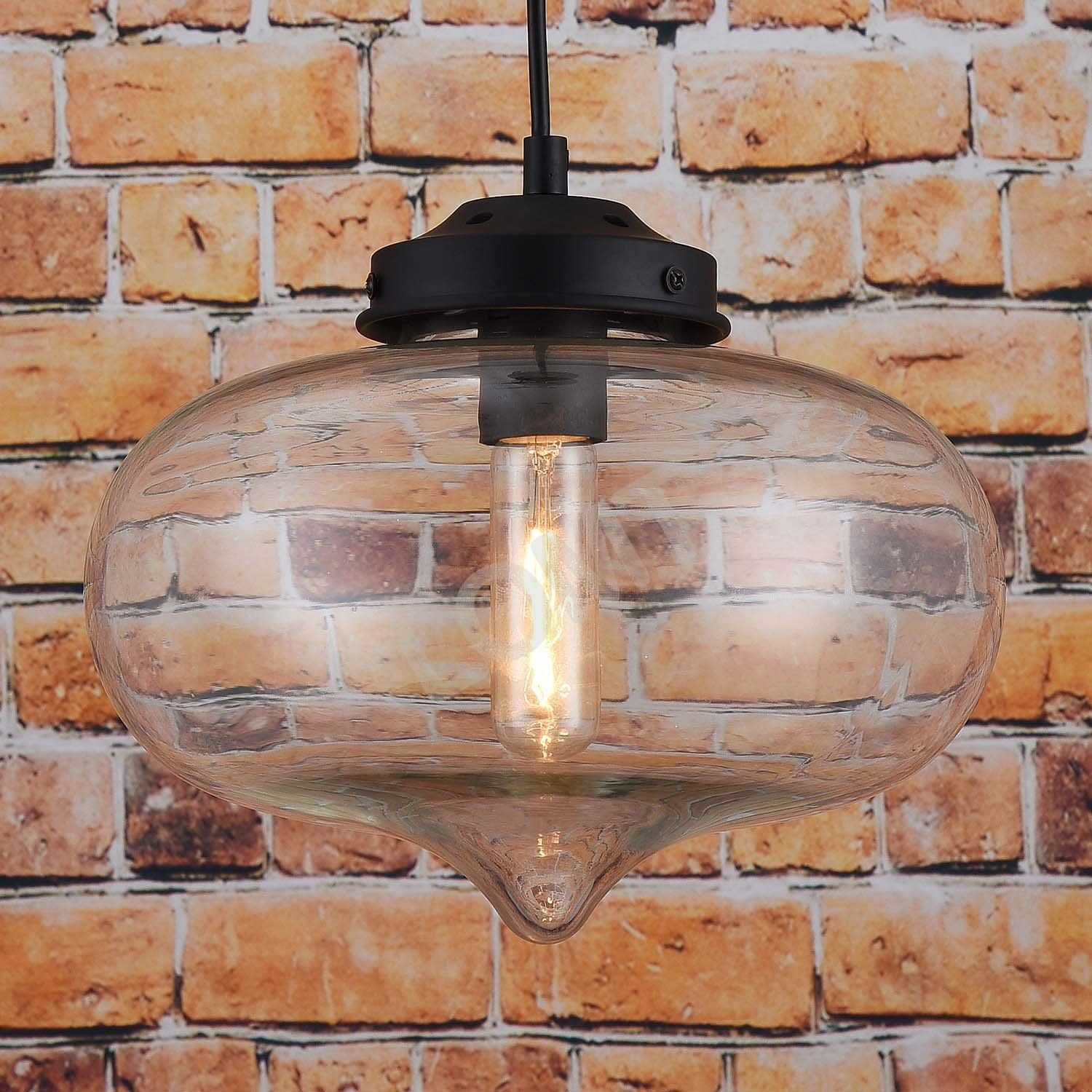 Suspension industrielle en verre moderne plafond lampe goutte d 39 eau amaz - Grosse suspension luminaire ...