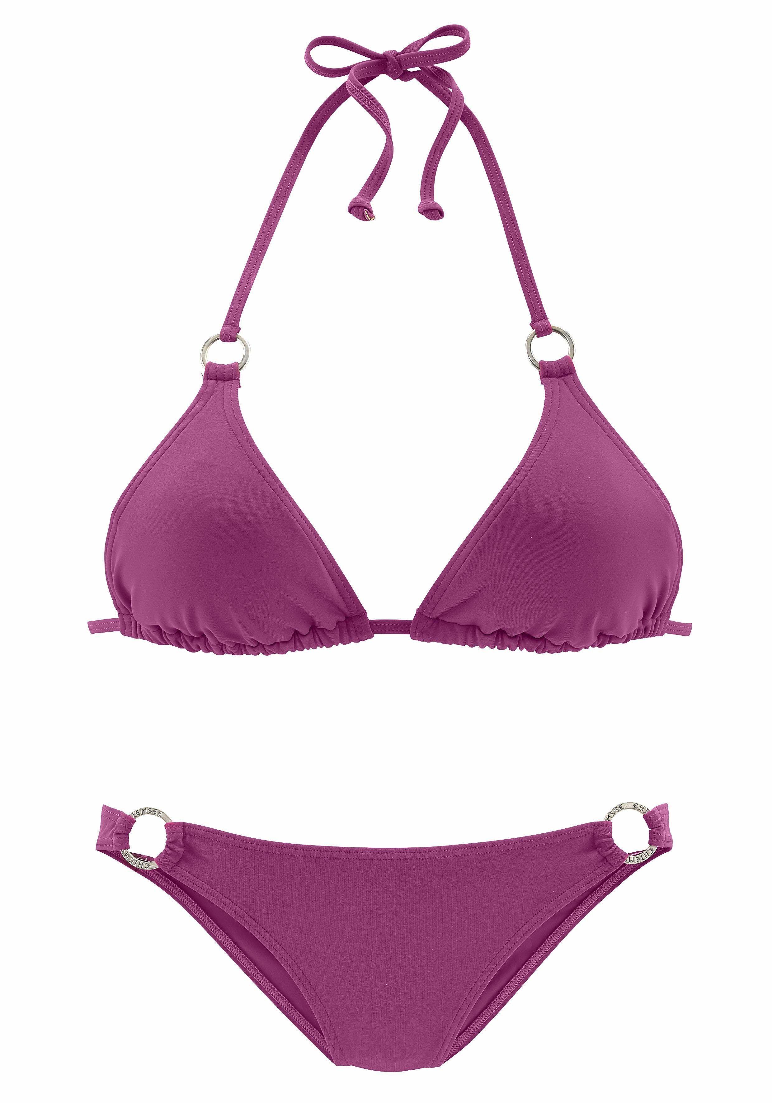 2814851c9e Damen Chiemsee Triangel-Bikini mit Zierringen an Cup und Hose bunt  mehrfarbig rosa | 04893848131359