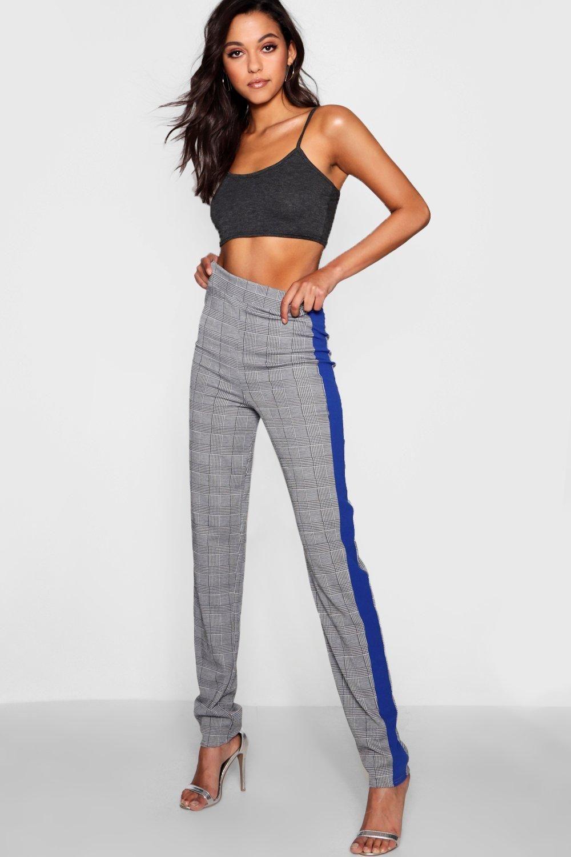 Tall Sports Stripe Check Peg Trousers boohoo Peg