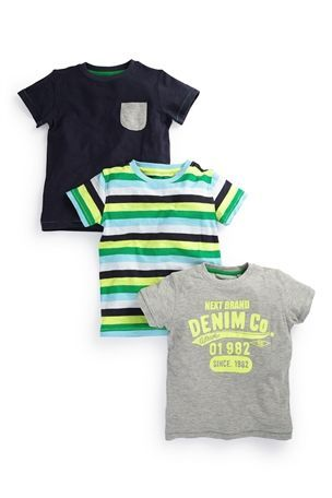 Buy Next Branded, Stripe And Navy T-Shirts Three Pack (3mths-6yrs) from the Next UK online shop