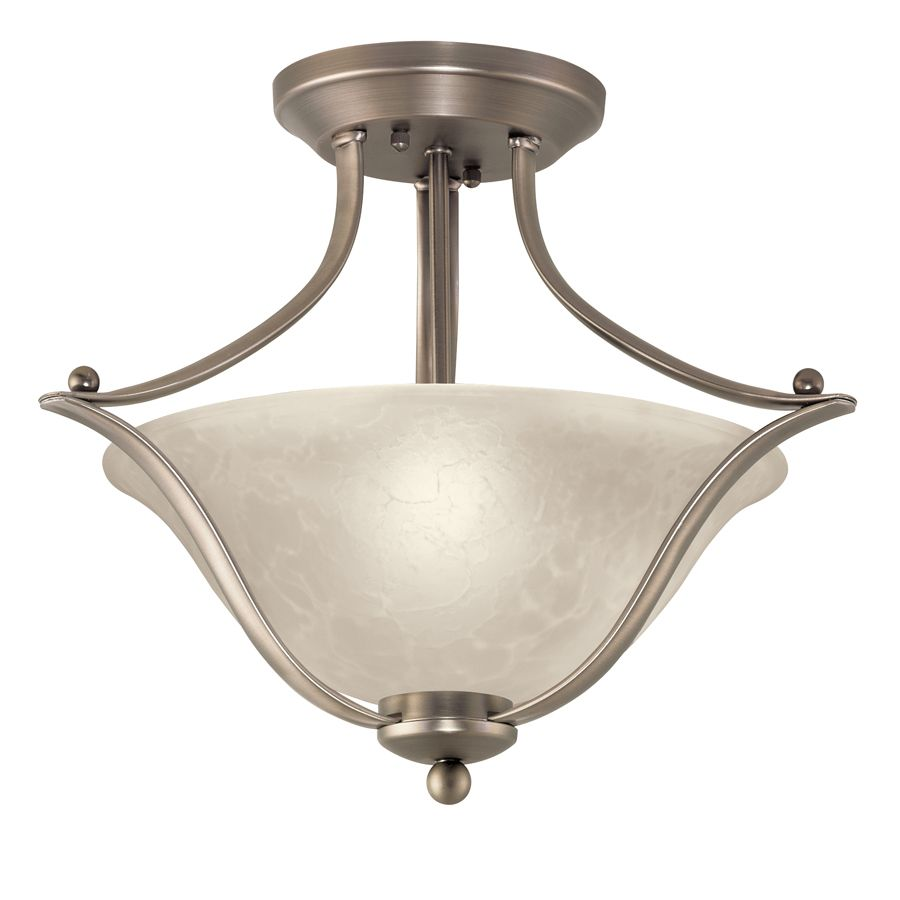 Portfolio 17.32-in W Brushed Nickel Alabaster Glass Semi-Flush Mount ...