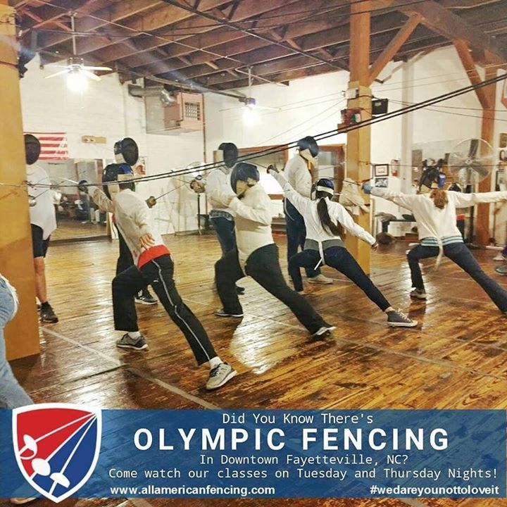 Did you know there's Olympic Fencing in Downtown Fayetteville NC? Come watch our youth teen and adult classes on Tuesday and Thursday nights! Beginner classes for students starting at age 7. Walk-In classes every 4th Friday. Call us at 910-644-0137 email at info@allamericanfencing.com or visit http://aafa.me/14RmVhu #wedareyounottoloveit #weallplayswords #downtownfayettevillenc #olympicfencing #rio2016 #2016olympics http://aafa.me/2aF7Nic