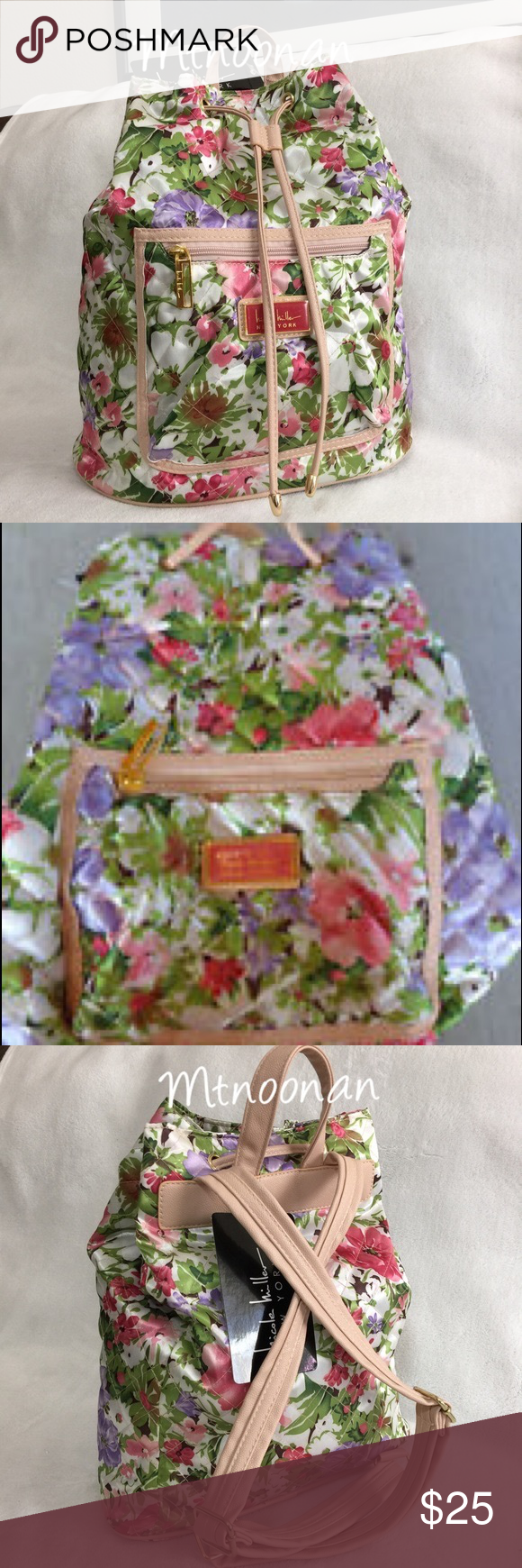 Nicole Miller Floral Backpack 13 by 15 by 6.5 I know the