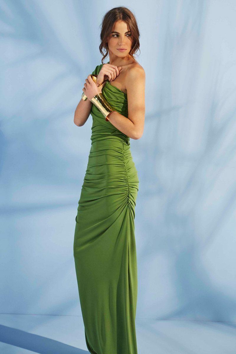Vestido Largo Verde Santorini | Drapeado de boda, Drapeado y Vestido ...