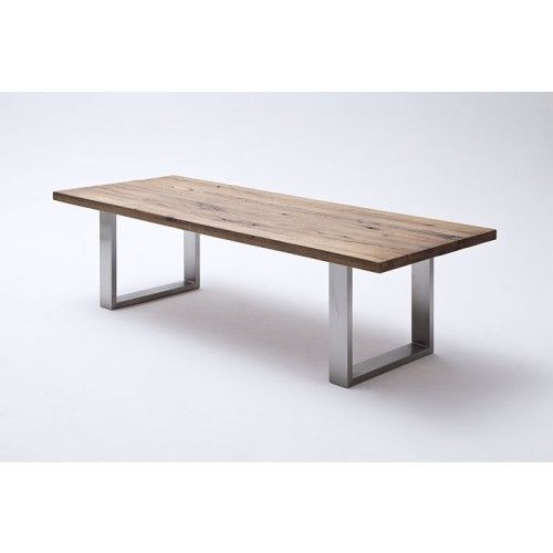 esstisch aus massiv eiche tisch mit einem gestell aus metall ma e 220 x 100 cm tische. Black Bedroom Furniture Sets. Home Design Ideas