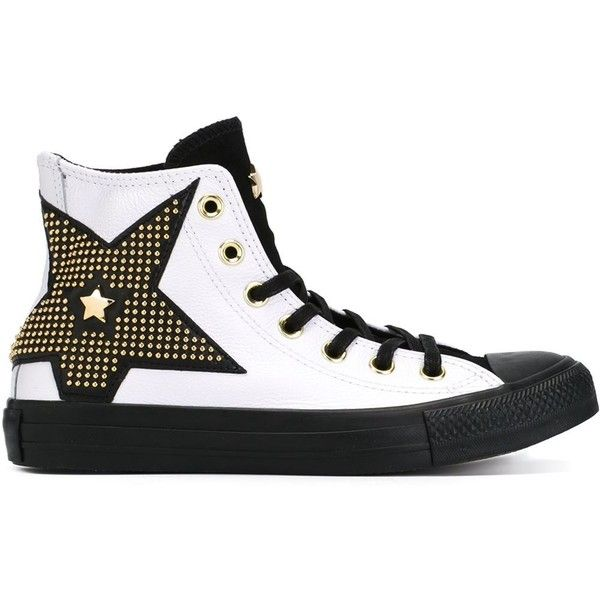Converse All Star Studded Star Sneakers (1.260 NOK) ❤ liked on Polyvore featuring shoes, sneakers, white, converse footwear, white sneakers, converse shoes, white shoes and star sneakers