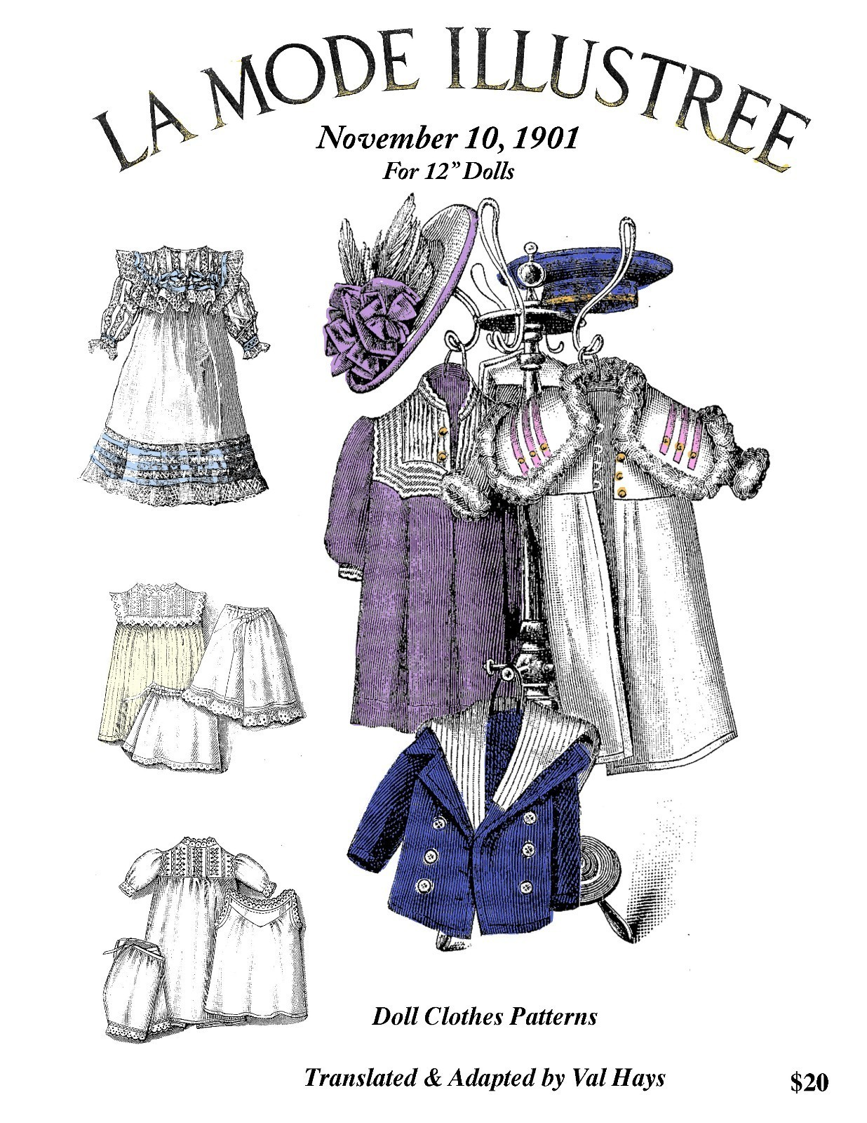 NEW 12in 1901 Antique Doll Clothes Patterns - Fancy Lace Dress