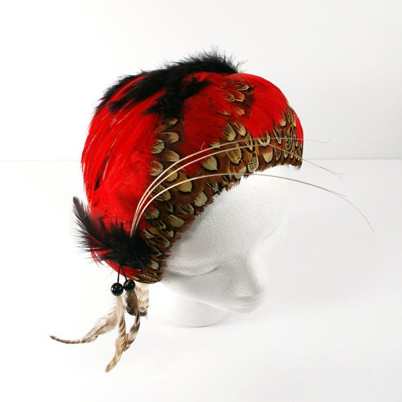 1940s Cocktail Hat, Vintage Black Felt and Red Feather Hat with Bead Fringe Trim By Katz Exclusive Millinary Hat Size 22