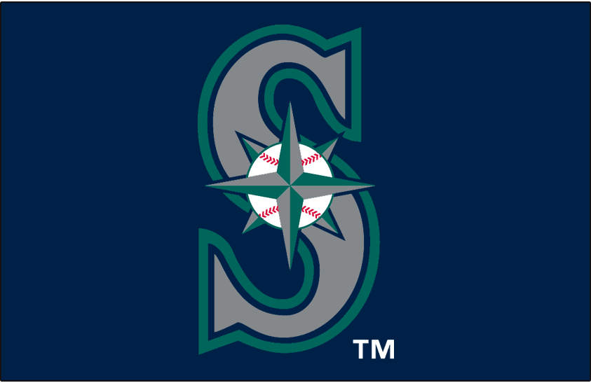Seattle Mariners Cap Logo 1993 Pres Baseball Navigation Star On Silver S With Teal Navy Out Seattle Mariners Logo Seattle Mariners Baseball Mariners Logo