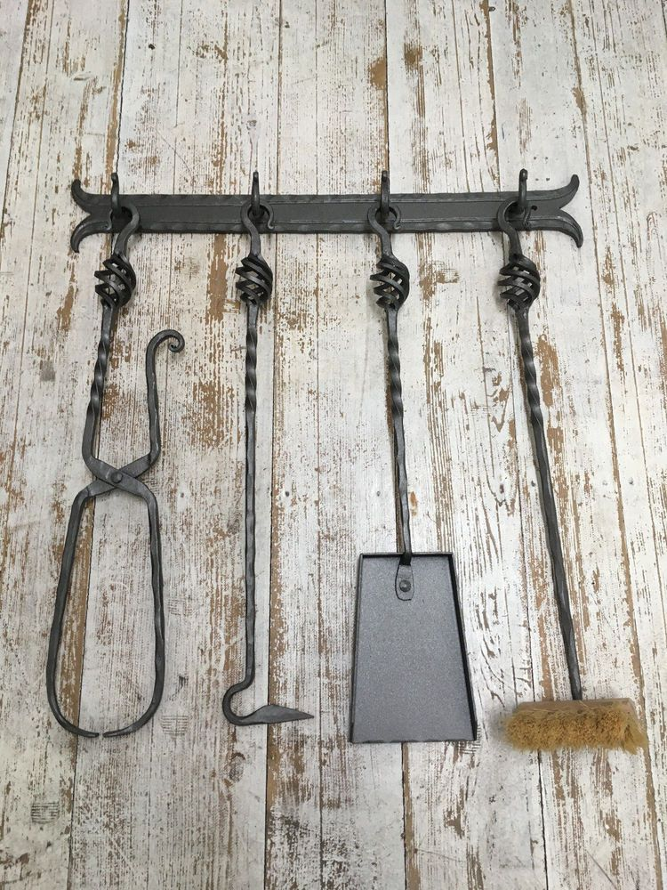 Hand Forged Fireplace Tool Set 5 Pieces Wall Hanging Wrought Iron