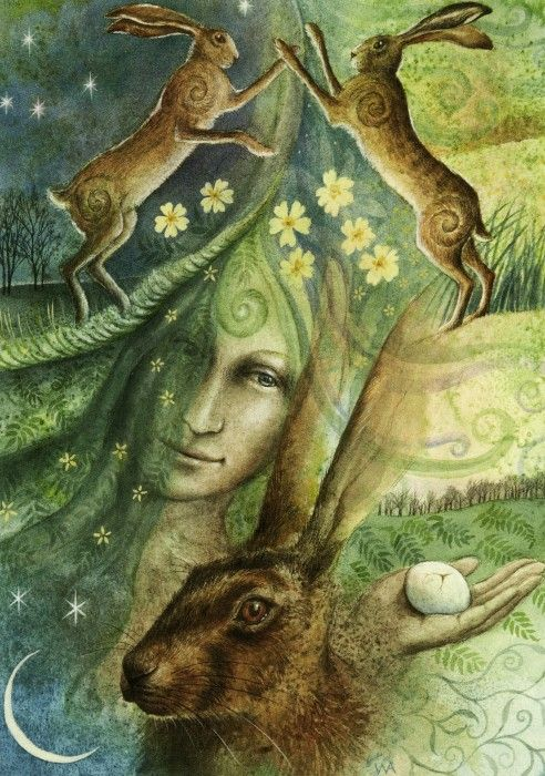 Eostre and the Hare's Egg : Wheel of the Year : Pagan Shop : Home : Fairy  cards, pagan/mystical cards, fantasy cards, fanta… | Spring equinox,  Ostara, Art