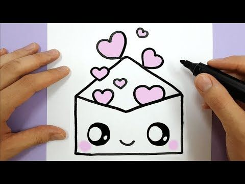 How To Draw A Cute Envelope with Love Hearts EASY - HAPPY ...