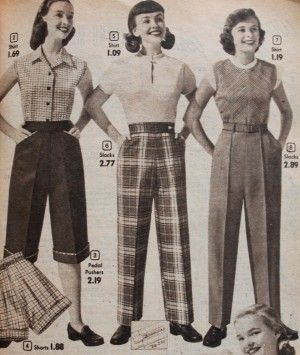 Vintage Wide Leg Pants 1920s 1950s Fashion Teenage Fashion 1950s Fashion