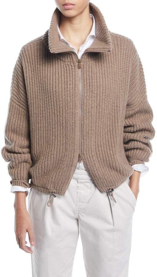 lowest price cf4b4 e8e73 English-Ribbed Cashmere Zip-Front Cardigan | Products in ...