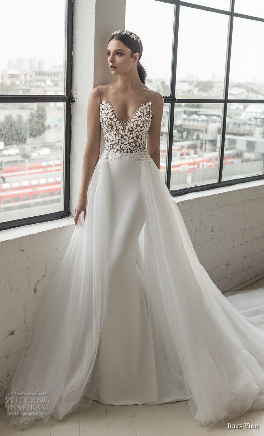 4d814eb0dc8df julie vino 2019 romanzo bridal sleeveless v neck heavily embellished bodice  romantic elegant fit and flare