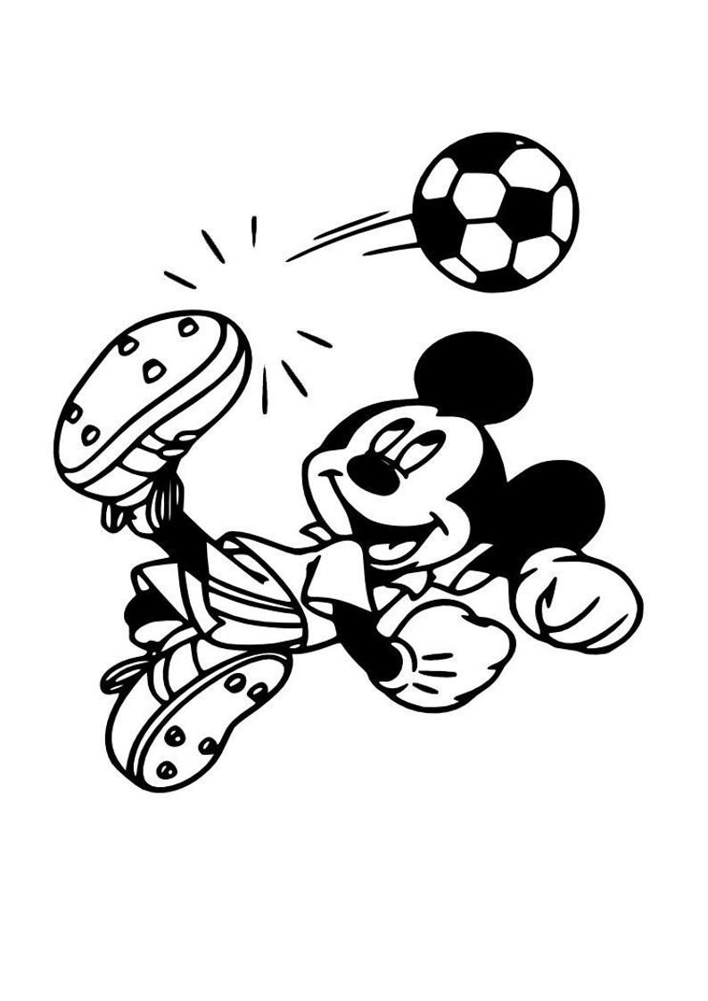 Mickey Mouse Football Soccer Disney Kitchen Bedroom Wall Art Sticker Picture Decal #disneykitchen