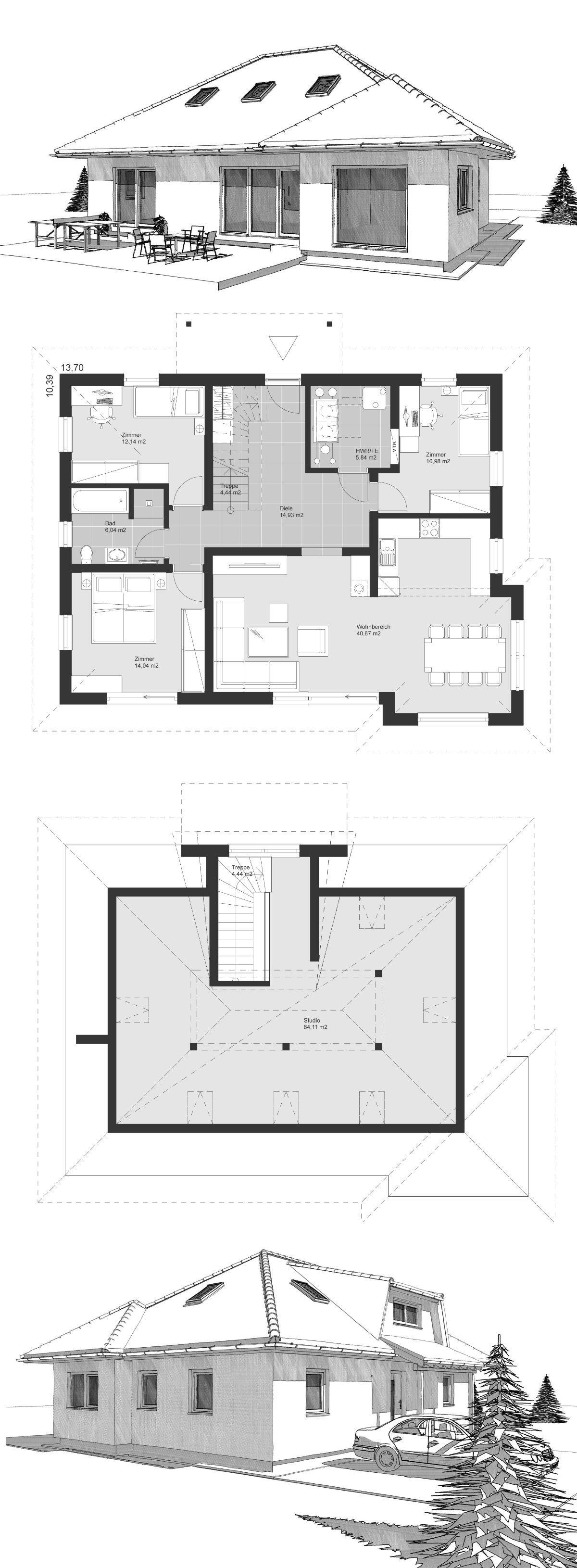 Bungalow Haus mit Dachausbau & Walmdach Architektur, 5