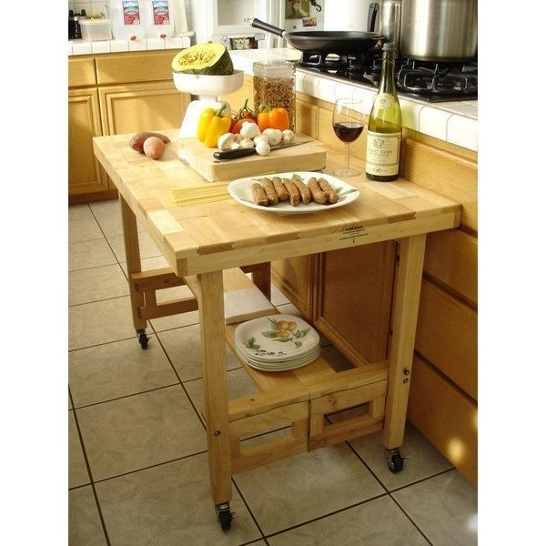 Folding Portable Rolling Table Dining Kitchen Counter Cart Prep Island  Storage