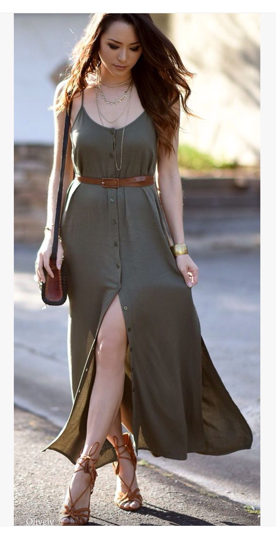 Vestidos verde militar largos