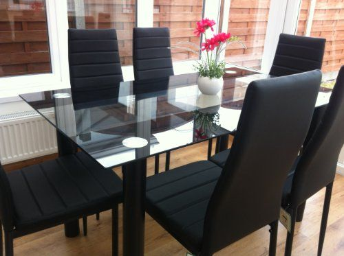 Stunning Glass White Or Black Dining Table Set And 6 Or 4 Faux