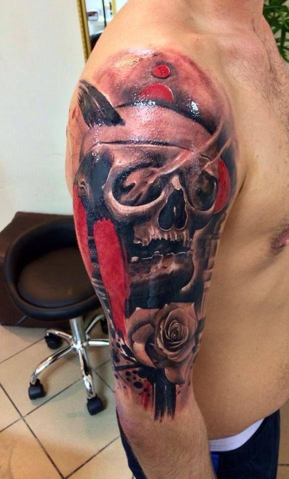 #tattoostudio #nadelwerk #skull #realistic #sleeve # ...