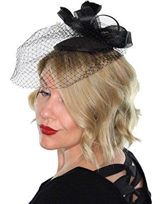 cd8b39944932c Classic Womens Fascinator Hat with Veil and Feathers Tea Party Derby  Wedding Accessory
