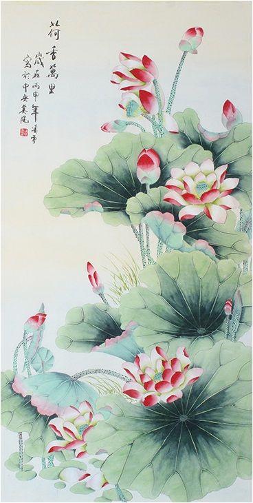 66e7b3fa5 Modern art famous artists Classic best painting Original Wall Lotus Flower  Painting - US $320.00