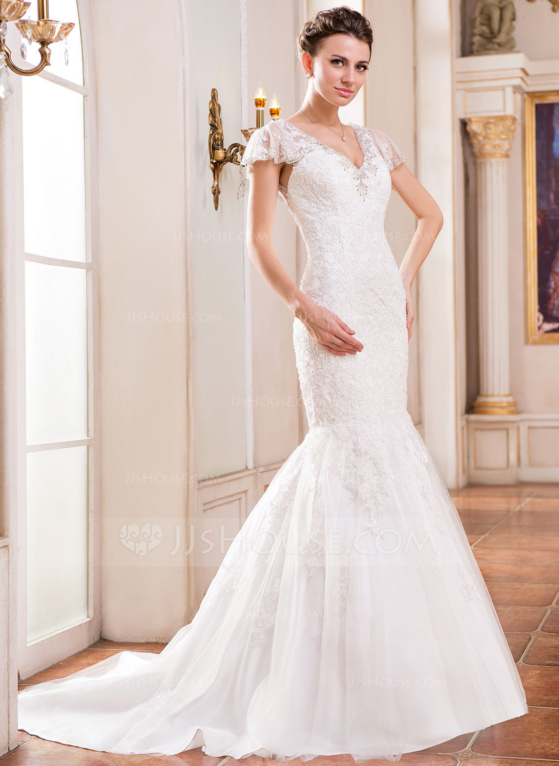 Short lace wedding dress with train  TrumpetMermaid Vneck Court Train Beading Sequins Zipper Up Covered