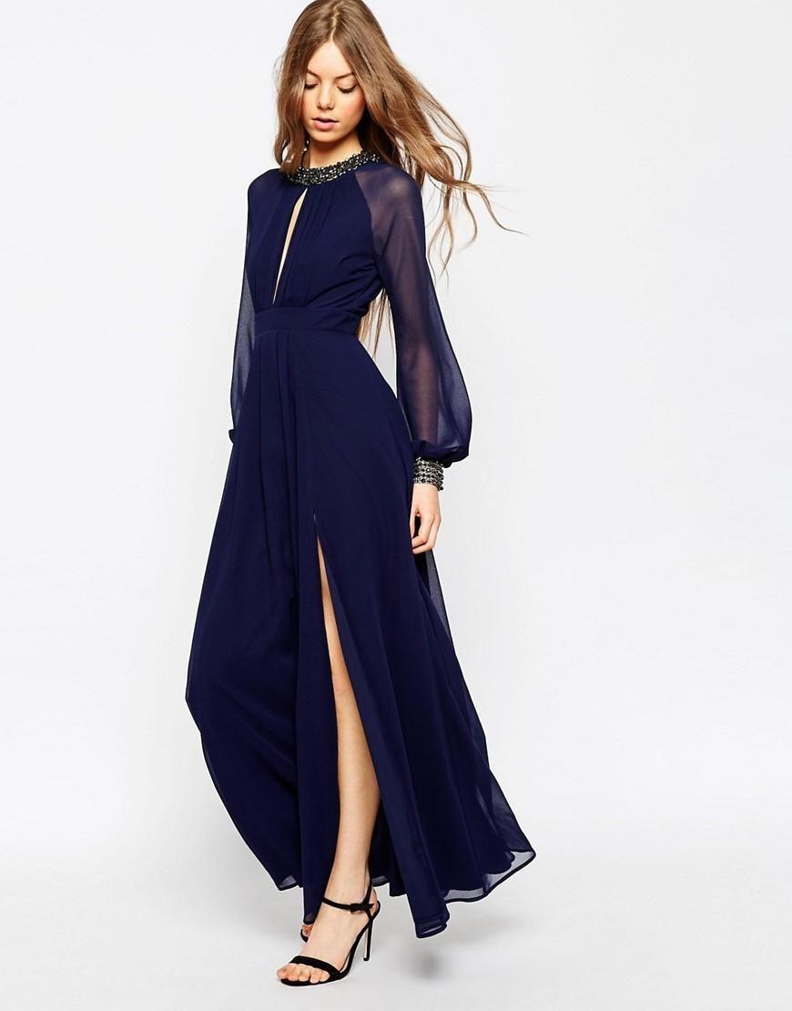 ASOS Embellished Trim Long Sleeve Maxi Dress at asos.com