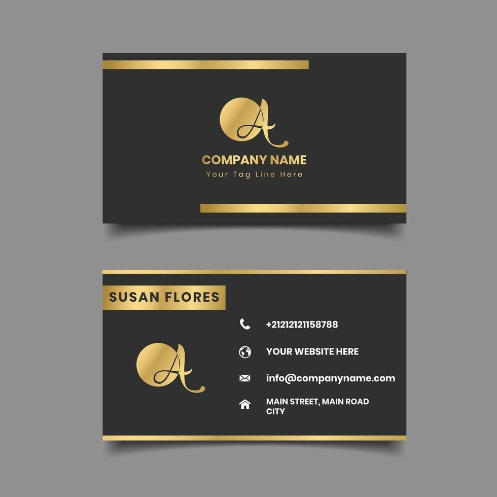 Black And Gold Metallic Border Business Card Business Cards Creative Modern Business Cards Design Gold Business Card
