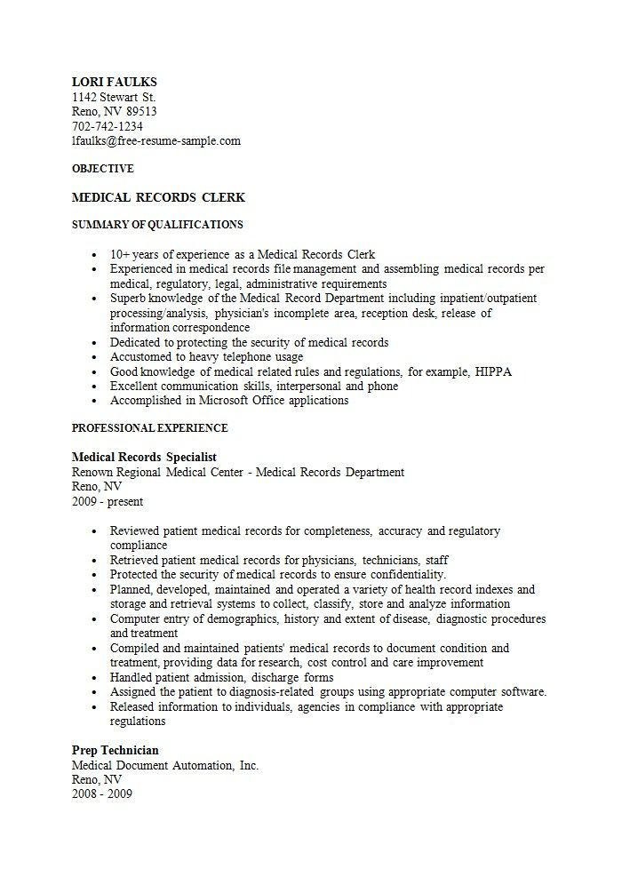 Sample Medical Records Clerk Resume  HttpResumesdesignCom